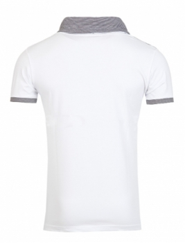 T-shirt homme tendance blanc col montant 138