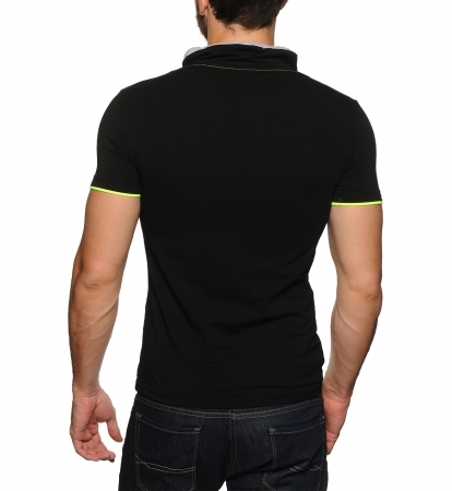 T-shirt noir a col fashion fluo 4045