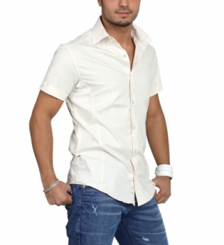chemise homme manche courte beige  6000