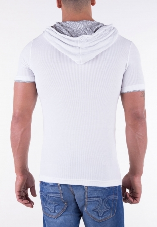 T-shirt homme fashion blanc capuche 41236