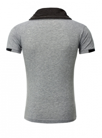 T-shirt homme fashion col montant gris 108
