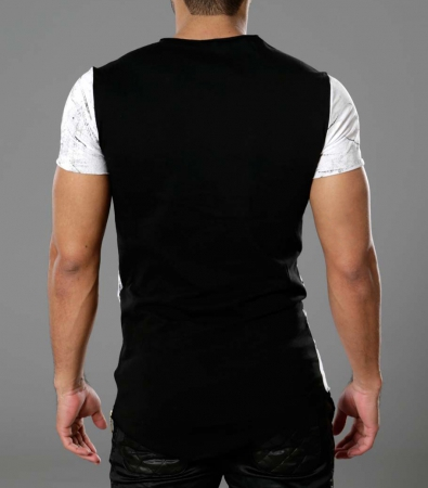 T-shirt homme asymetrique MARBEE blanc 1478