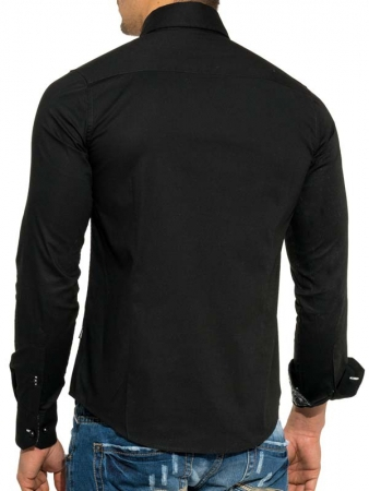 Chemise italienne homme noir 8191 - Chemise homme fashion coupe italienne cintree ...