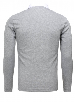 Pull chemise homme gris clair 235