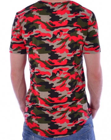 T-shirt homme camouflage rouge 118