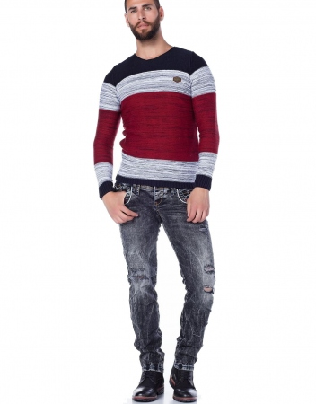 pull homme laine STANLEY rouge 134