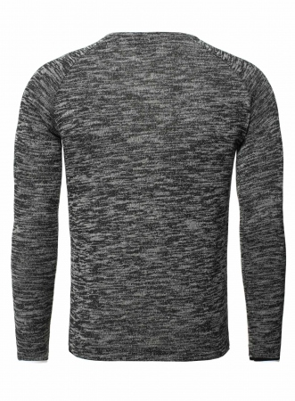 Pull homme double col noir chiné 356