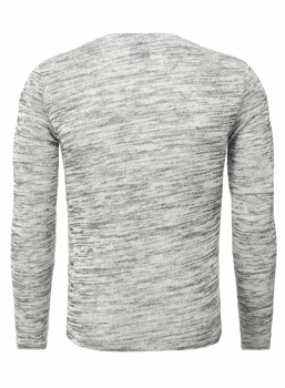 Pull homme double col gris chiné 356