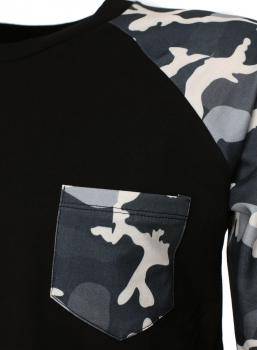 Pull homme noir manche camouflage 322