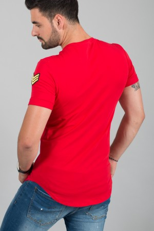 T-shirt homme rouge patch Army 1614