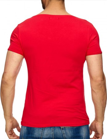 T-shirt homme col rond profond rouge 7385