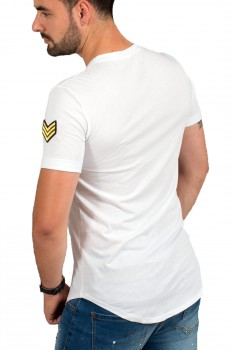 T-shirt homme blanc patch Army 1614