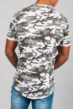 T-shirt homme camouflage blanc 6551