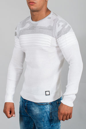 pull homme blanc camouflage 3091