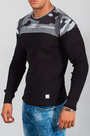 pull homme noir camouflage 3091