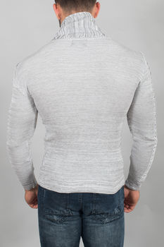 pull homme blanc/gris col montant 3126