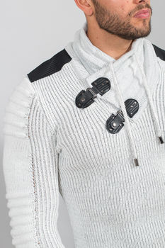 pull homme blanc gris 50170
