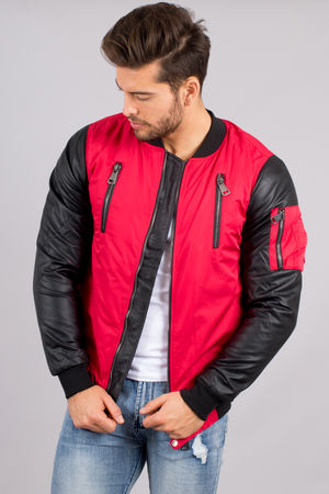 bombers homme rouge manche simili-cuir  175