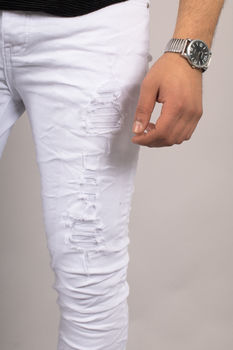 Jeans homme blanc skinny 72209