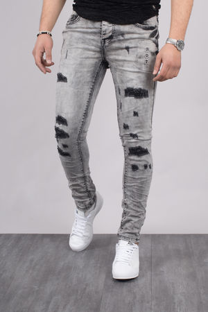 Jeans homme skinny gris  clair 72203