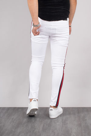 jeans homme blanc  bandes rouge 298