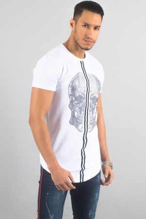 T-shirt homme blanc oversize strass 18873