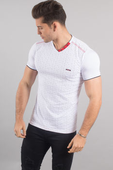 T-shirt homme blanc col rouge 18052