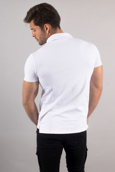 polo homme blanc up