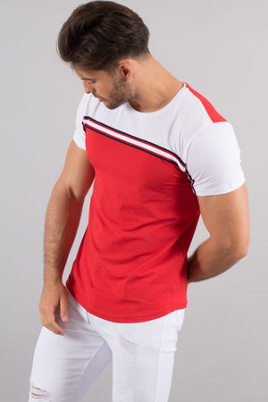 T-shirt homme rouge/blanc 4498