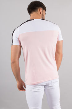 T-shirt homme bi Color rose/blanc 4518