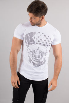 T-shirt homme oversize  strass blanc  uy184