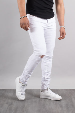 Jeans homme skinny blanc 72182