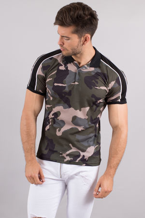 polo homme camouflage bandes noires 114
