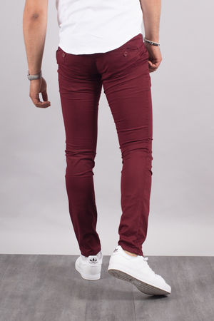 Chino homme bordeaux   5710 O