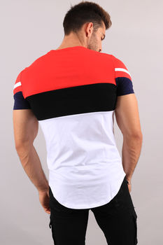 T-shirt homme tri-color red 98106-1