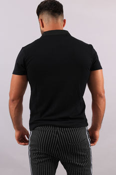 Polo homme noir Color 1864
