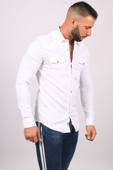 chemise homme jeans BLANC 5109