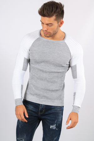 pull homme gris/blanc 3158