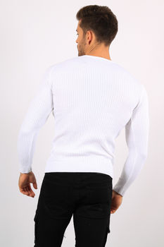 pull homme blanc bande rouge  5947