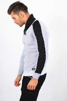 pull homme gris col montant  5909