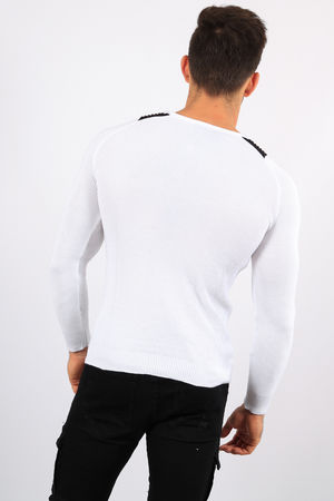 pull homme blanc CE 3276
