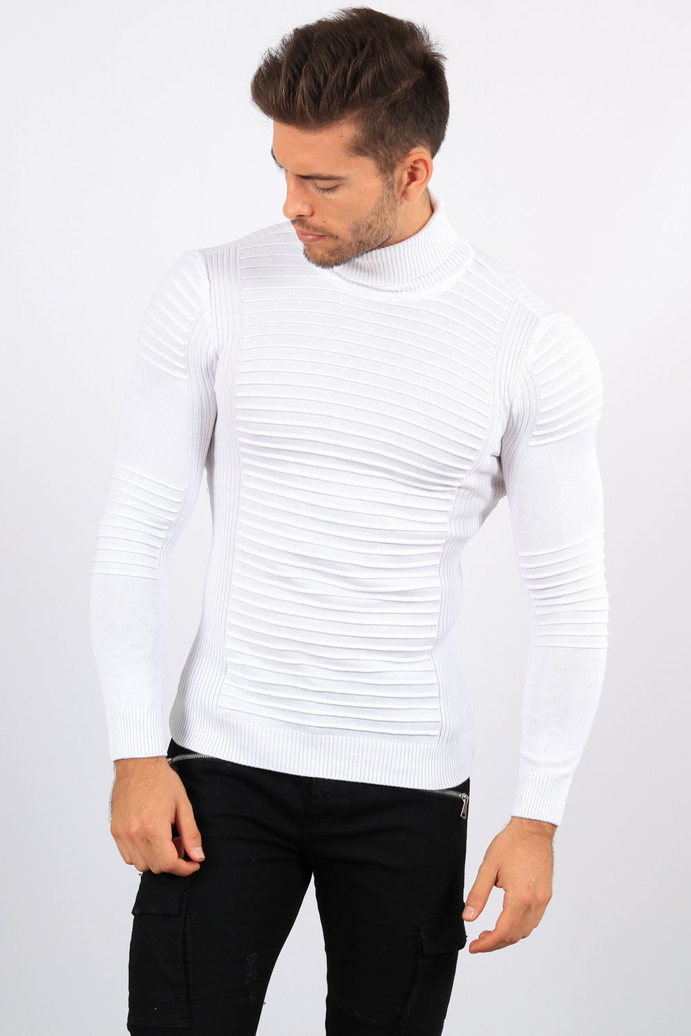 code promo 113b7 736a0 pull homme col roulé blanc CE 3205