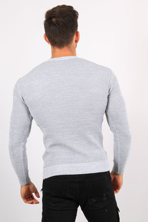 pull homme  blanc/gris  5910