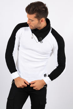 pull homme blanc col montant  5909