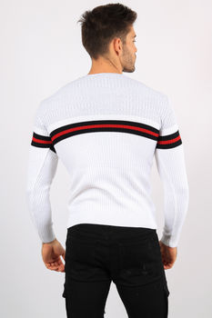 pull homme blanc bande rouge 5952