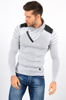 pull homme  stylé gris 806