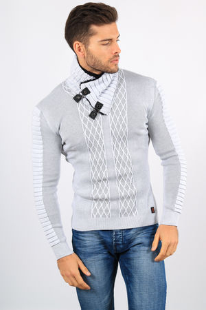 pull homme  stylé blanc/gris 804
