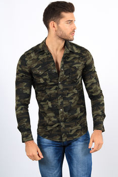 chemise homme jeans camouflage 2396
