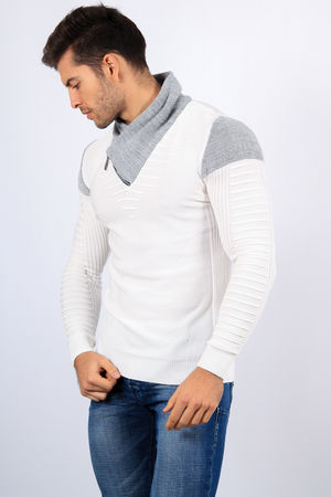 pull homme stylé blanc 1726