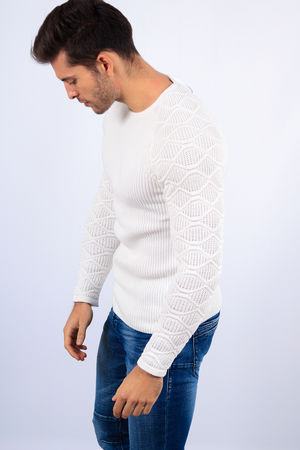 pull homme blanc  2118